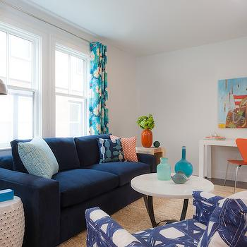 Blue and beige living room cottage living room lucy for Navy blue couch living room ideas