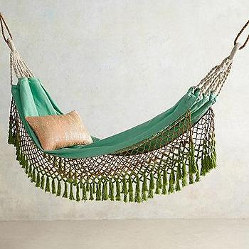 Decor/Accessories - Canyon Fringe Hammock I anthropologie.com - fringed hammock, green hammock, tropical hammock, green fringed hammock,
