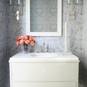 Blue Damask Wallpaper, Transitional, bathroom, Christopher Burns Interiors