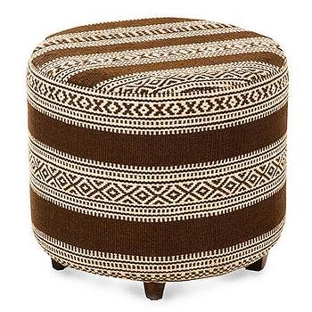 Seating - Global Ottoman - Chocolate I Bliss Home and Design - blue geometric ottoman, round brown and ivory ottoman, geometric brown ottoman, round chocolate brown ottoman,