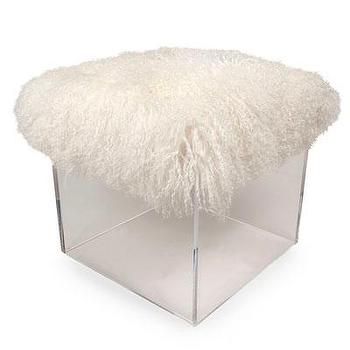 Seating - Fluff Bella Cube - Lamb Cushion I Bliss Home and Design - acrylic cube stool, acrylic stool with lamb seat, acrylic cube stool with wool top,