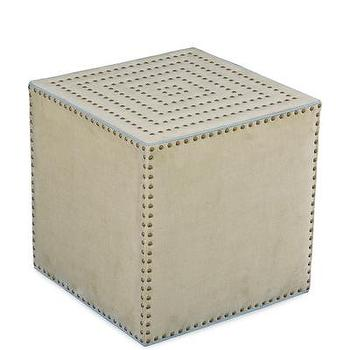 Seating - Adora Square Ottoman in Patton Flax I Bliss Home and Design - upholstered cube ottoman, geometric cube ottoman, cube ottoman with brass nailhead trim,