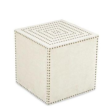 Seating - Adora Square Ottoman in Patton White I Bliss Home and Design - white cube ottoman, white nailhead trimmed cube, nailhead cube ottoman,