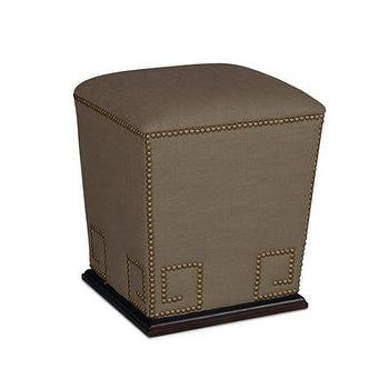 Seating - Thrace Pedestal Ottoman in Glynn Linen I Bliss Home and Design - taupe greek key ottoman, taupe ottoman with nailhead trim, taupe pedestal ottoman, taupe linen ottoman,