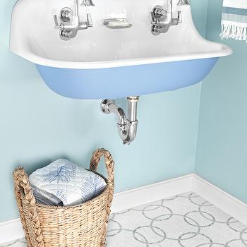 AKDO - bathrooms - Farrow and Ball - Blue Ground - interlocking circle mosaic, interlocking circle mosaic tiled floors, interlocking mosaic floor tile, blue walls, blue wall color, seagrass basket, seagrass basket with handles, wall mount sink, vintage style sink, sink with two faucets, blue sink, blue wall mount sink, sink with integrated faucets, dual faucet sink, two faucet sink, thassos with azul celeste and ming green tile, ming green mosaic tiled floors, marble mosaic tiled floors, marble mosaic powder room floors, blue powder room, kids sinks, kids bathrooms, kohler sink, brockway sink,