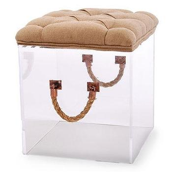 Seating - Bella Cube with Cushion- Linen I Bliss Home and Design - acrylic cube ottoman, linen topped acrylic cube, upholstered acrylic cube, upholstered acrylic cube ottoman,