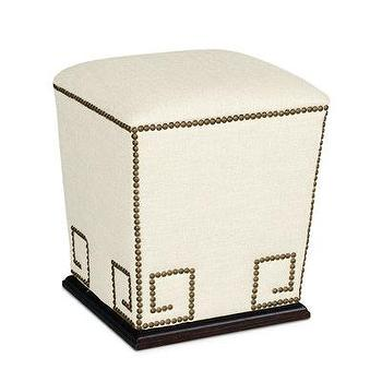 Seating - Thrace Pedestal Ottoman in Patton White I Bliss Home and Design - greek key cube ottoman, greek key nailhead ottoman, pedestal ottoman,
