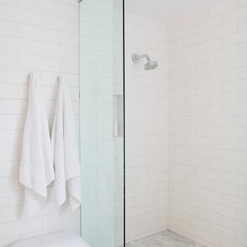 Bestor Architecture - bathrooms - walk in shower, walk in shower ideas, arctic white tiles, daltiles, daltile arctic white, carrera marble shower floor, carrera shower floor, carrera subway tile, shower partition, glass shower partition, bathroom bench, towel hooks,