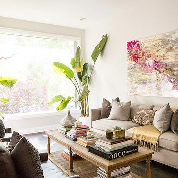 Gray Sofas, Transitional, living room, Refinery 29