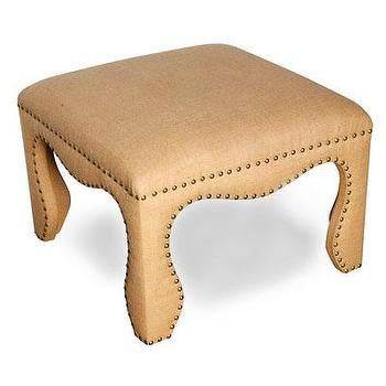 Seating - Dion Ottoman I Bliss Home and Design - burlap ottoman, burlap ottoman with nailhead trim, modern burlap ottoman,