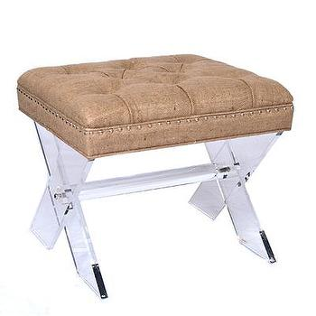 Seating - Burlap Tufted X Stool I Bliss Home and Design - lucite x stool, lucite and burlap stool, lucite burlap tufted stool, lucite x base stool,