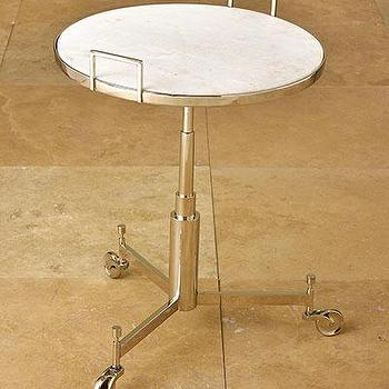 Tables - Trolley Table I Bliss Home and Design - vintage style side table, caster based side table, marble topped side table on wheels,
