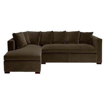 Seating - Brooks Sectional Sofa in Dark Walnut & Brown I Bliss Home and Design - dark brown sectional, brown sectional with chaise, tuxedo arm sectional, brown tuxedo arm sectional,