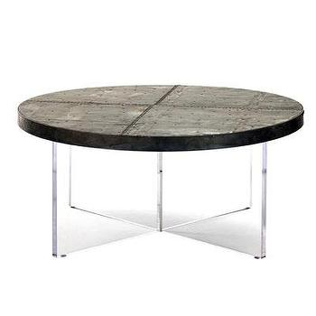 Tables - Alf Coffee Table I Bliss Home and Design - acrylic based coffee table, zinc topped coffee table, zinc topped acrylic coffee table, round zinc coffee table,