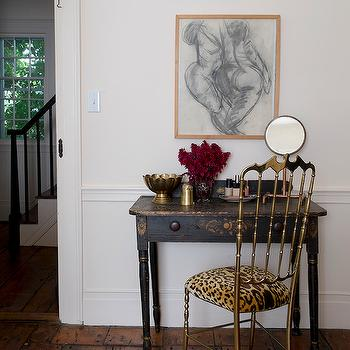 Studio MRS - bedrooms - leopard chair, leopard print chair, leopard cushion, leopard seat cushion, leopard print seat cushion, antique dressing table, antique vanity, black dressing table, black vanity, plank floors, gold chair, gold vanity chair, gold dressing table chair,