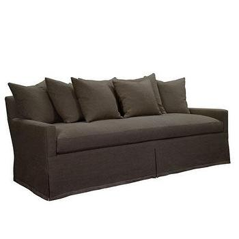 Seating - Silhouette Sofa w/ Dressmaker Skirt in Brown I Bliss Home and Design - brown skirted sofa, brown scatter back sofa, brown track arm sofa,