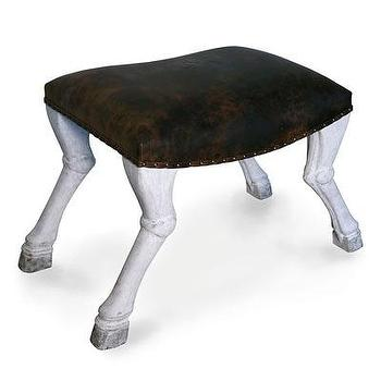 Seating - Claw Leg Saddle Stool - White Weathered I Bliss Home and Design - claw leg stool, animal leg stool, animal foot stool,