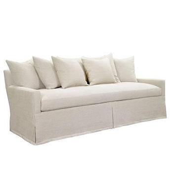 Seating - Silhouette Sofa w/ Dressmaker Skirt in Cream I Bliss Home and Design - skirted cream sofa, cream scatter back sofa, cream sofa, cream track arm sofa,
