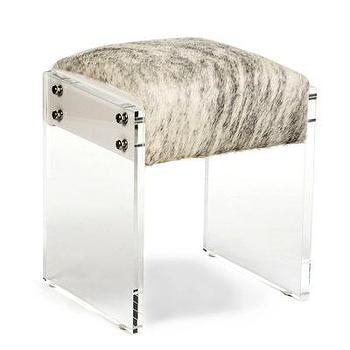 Seating - Vanity Stool I Bliss Home and Design - cowhide vanity stool, cowhide lucite vanity stool, lucite framed vanity stool, lucite vanity stool,