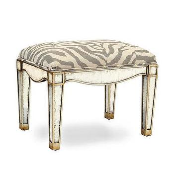Seating - Eglomise Stool I Bliss Home and Design - mirrored stool, mirrored zebra stool, eglomise mirrored stool, mirrored zebra print stool,