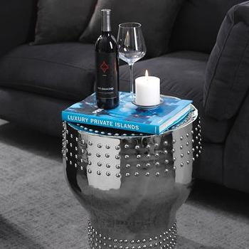 Seating - Metalique Stool I Bliss Home and Design - silver stool, silver studded stool, metallic silver stool,