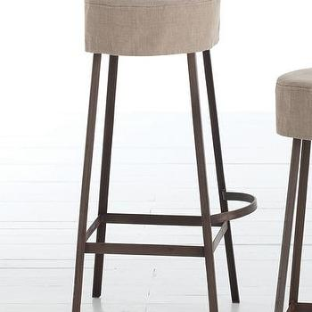 Seating - Rochefort Iron/Wood/Linen Bar Stool I Bliss Home and Design - iron barstool, industrial iron barstool, iron and linen barstool, backless industrial barstool,