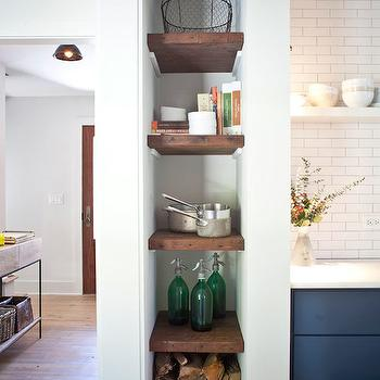 Jen Langston Interiors - kitchens: kitchen nook, vertical nook, floating shelves, kitchen floating shelves, firewood storage,  Amazing kitchen