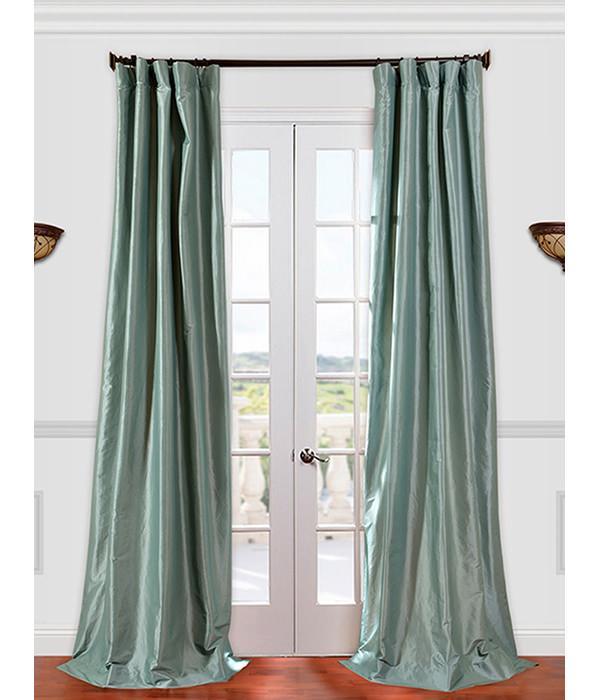 Get Robins Egg Faux Silk Taffeta Curtains Amp Drapes At Low