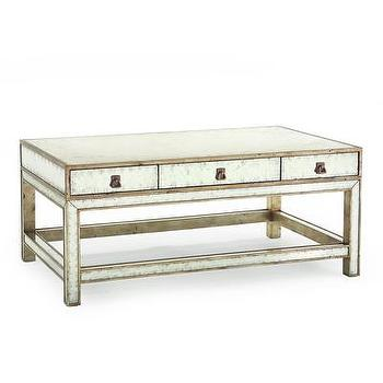 Tables - Silver-Eglomise Cocktail Table I Bliss Home and Design - silver eglomise coffee table, mirrored eglomise coffee table, mirrored coffee table with drawers,