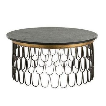 Tables - Orleans Cocktail Table I Bliss Home and Design - scalloped iron coffee table, scalloped iron cocktail table, round fish scale coffee table,