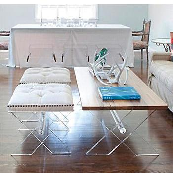 Tables - X Coffee Table I Bliss Home and Design - lucite and wood coffee table, lucite x base coffee table, lucite framed wood coffee table, reclaimed wood coffee table,
