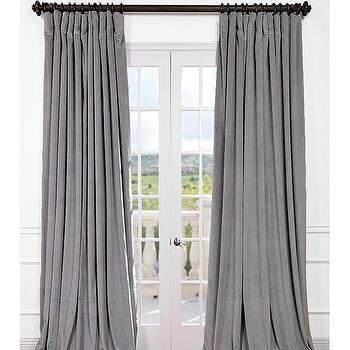 Window Treatments - Get Signature Silver Grey Double Wide Velvet Blackout Pole Pocket Curtains & Drapes - Velvet Blackout Curtains