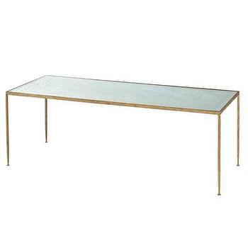 Tables - Worthington Hammered Iron/Mirror Coffee Table I Bliss Home and Design - hammered gold coffee table, gold coffee table with mirrored top, antiqued gold coffee table with mirrored top,