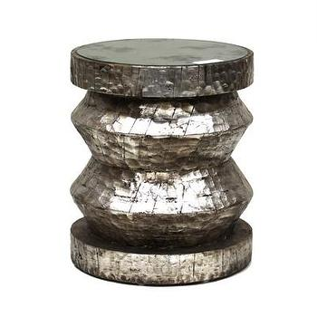 Tables - Z Stool - Silver I Bliss Home and Design - hammered silver stool, hammered silver drum stool, carved silver stool,
