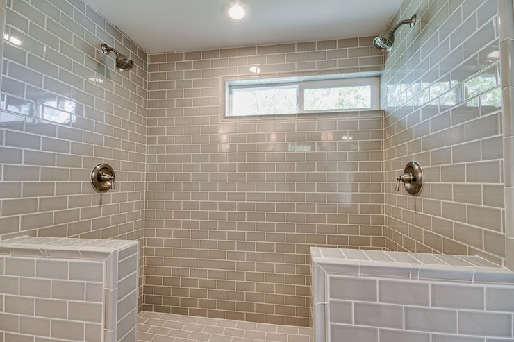 Pumice Subway Tiles Transitional Bathroom White
