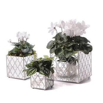 Decor/Accessories - Mirror Orchid Pot Set Jolie, Silver I Bliss Home and Design - mirrored planter, antiqued mirrored planter, moroccan mirrored planter,