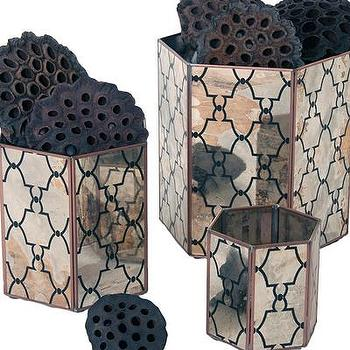 Decor/Accessories - Mirror Orchid Pot Set, Hex Jolie Reversed I Bliss Home and Design - mirrored planter, geometric mirrored planter, moroccan mirrored planter,