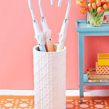 Decor/Accessories - Ceramic Lattice Design Umbrella Stand I Bliss Home and Design - lattice umbrella stand, cane patterned umbrella stand, white geometric umbrella stand,
