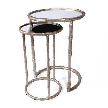 Tables - Cane Nesting Accent Table - Champagne I Bliss Home and Design - mirror topped nesting tables, silver mirror topped nesting tables, round mirror topped nesting tables, silver faux bamboo nesting tables,