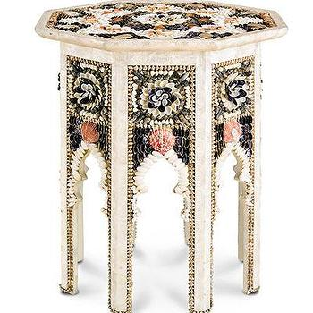 Tables - Aladdin Occasional Table I Bliss Home and Design - seashell side table, seashell moroccan table, moroccan shell side table,