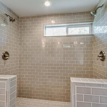 Pumice Subway Tiles, Transitional, bathroom, White & Gold Design