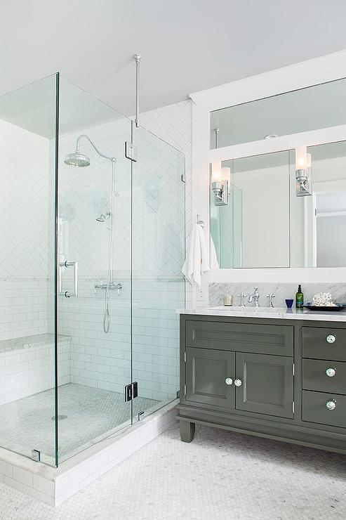 Herringbone Shower Tiles Transitional Bathroom