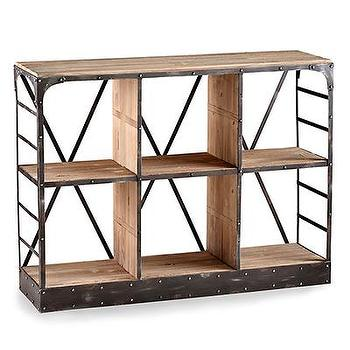 Storage Furniture - Newberg Storage Console I Bliss Home and Design - industrial storage console, industrial bookcase, wood and iron bookcase,