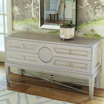 Storage Furniture - Collectors Console - Grey I Bliss Home and Design - dove gray console, traditional gray console, gray x stretched console,