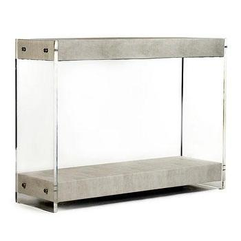 Tables - Parker Acrylic Console I Bliss Home and Design - acrylic sided console, acrylic console with shelves, acrylic and fabric console table,