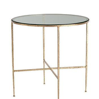 Tables - Winchester Hammered Iron/Glass side Table I Bliss Home and Design - hammered gold side table, round hammered gold side table, round gold side table with glass top,