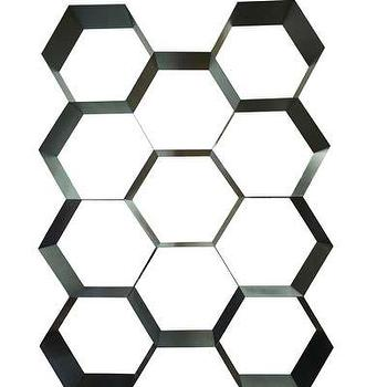 Storage Furniture - Bee Hive Metal Bookcase I Bliss Home and Design - hex bookcase, honeycomb shaped bookcase, metal hexagon bookcase,