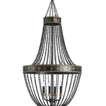 Lighting - Coptic Chandelier I Bliss Home and Design - black beaded chandelier, black matte beaded chandelier, black medieval chandelier,