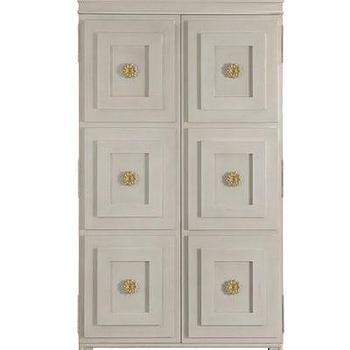 Storage Furniture - Tuxedo Armoire/Entertainment Center I Bliss Home and Design - weathered gray armoire, vintage style gray armoire, geometric front gray entertainment center, gray entertainment center with gold pulls,