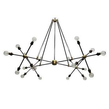 Lighting - Flake Chandelier I Bliss Home and Design - sculptural brass chandelier, contemporary branch chandelier, exposed bulb brass chandelier,